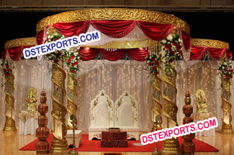 New Design Wedding Gold Fiber Crystal Mandap