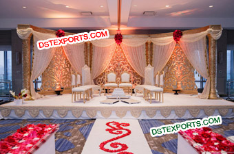 Asian Wedding Golden Stage Decorations