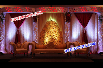 Latesr Asian Wedding Golden Heavy Carving Stages