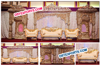 Asian Wedding Stage With Gold Furnitures