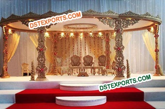 Hand Carved Wooden Wedding Mandap Set