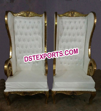 Gold Wooden High Back Throne Chairs for Wedding