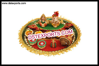 Latest Golden Lace Decorated Puja Thaali