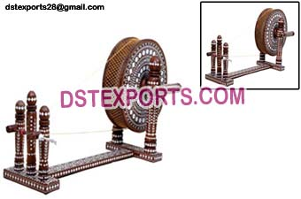 Antique Punjabi Hand Made Wooden Charkha