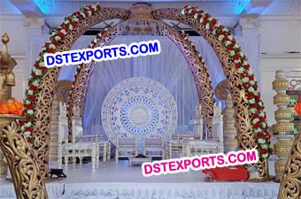 Indian Wedding Fiber Carved Elephant Task Mandap