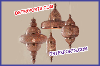 Moroccan Bright Copper Hanging Lamps