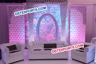 Wedding Crystal Leather Tufted Backdrop Stage Set