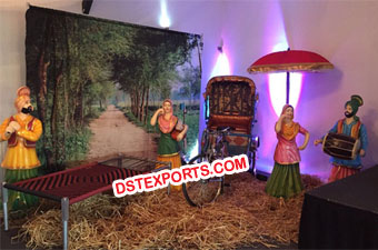 Village Theme Punjabi Wedding Stage Decoration