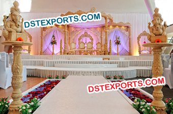 Latest Design Wedding Hand Carved Wooden Mandap