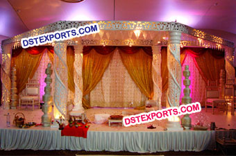 White Half Zali Half Crystal Wedding Mandap