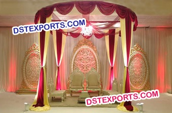 Indian Wedding Mandap With Oval Backdrop Frames