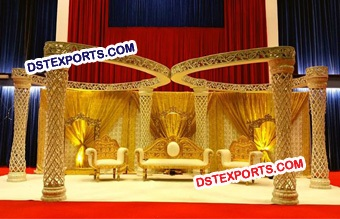 Wedding Golden Plazo Butterfly Mandap