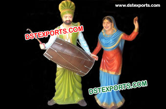 Punjabi Couple Dancing Fiber Statue