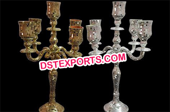 Five arm Wedding Mirror Work candelabra