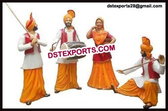 Punjabi Culture Life Size Bhangra Statue for Dhab