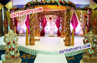 Indian Wedding Wooden Handicraft Mandap