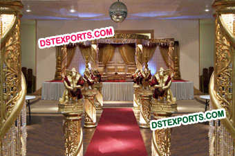 Wedding Golden Glittering Crystal Mandap