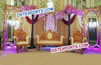 Muslim Wedding Stage With Golden Frames