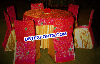 Wedding Embroidered Chair Cover and Table Cloth