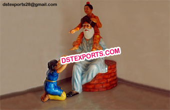 Punjabi Old Man with Fiber Kids Statue