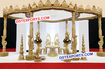 Indian Wedding Hand Carved Peacock Wood Mandap
