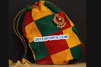 Multicolor Phulkari Potli Bag
