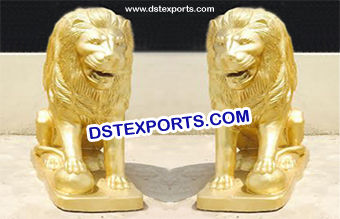 Golden Animal Lion Fiber Statue