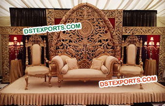 Designer Golden Carved Backdrop Panels