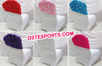 Wedding Rose Flower Spandex Chair Cover