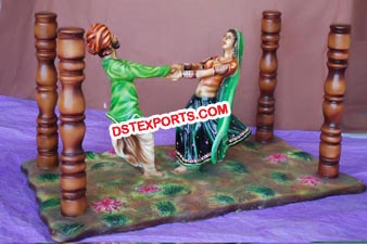 Rajasthani Couple Dancing Statue Table