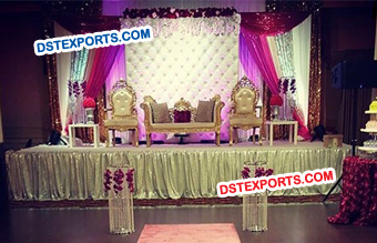 Fabulous Wedding Leather Tufted Panels Stage