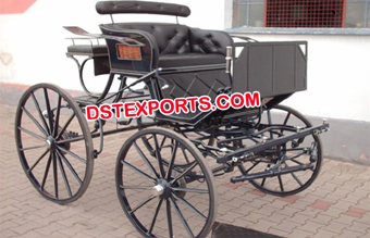 Two Seater Black Small Horse Cart