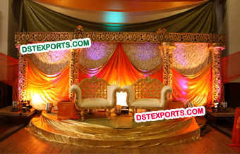 Stylish Golden Carved Wedding Stage