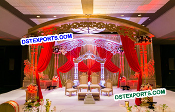 Stylish Carved Wooden Mandap