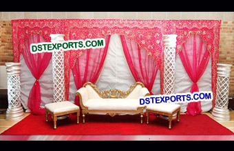 Pakistani Wedding Red Embroidered Backdrop