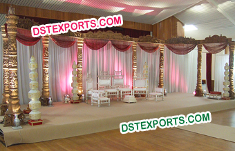 Indian Wedding Wooden Carved Pillar Stage