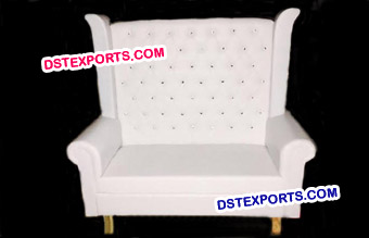 Modern White Leather Love Seat