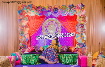Muslim Mehandi Stage Decor With Umberalas