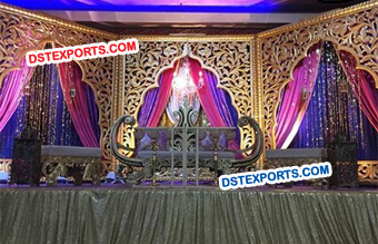 Wedding Stage Golden Carved Backdrop Panels