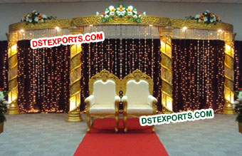 MUSLIM Wedding Stage With Gold Crystal Pillars