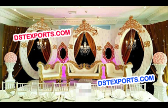 Unusual Leather Oval Wedding Stage Backdrop Frame