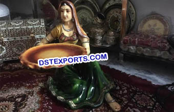 Rajasthani Lady Decoration Fiber Statue