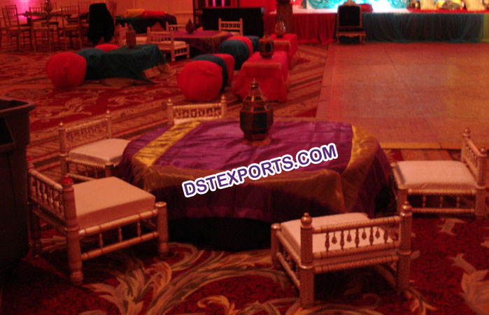 Indian Wedding Mehandi Stage Low Sitting Chairs