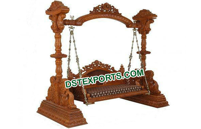 Traditional Indian Wedding Wooden Carved Swing