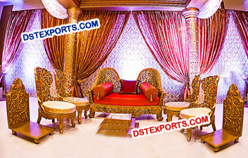 Golden Carved Wooden Mandap Chairs
