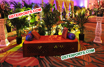 Decorated Night Wedding Mehandi Stage