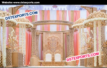 White Gold Carved Crystal Wedding Mandap
