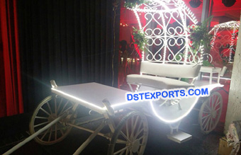 Dulhan Entry Open White Buggy Carriage