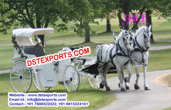 White Victoria Wedding Horse Carriages
