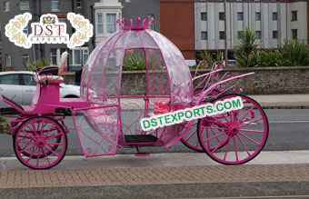 Pinkish Wedding Cinderella Horse Buggy Carriage